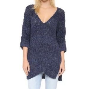 Free People Georgia Blue Vneck Stripe Sweater